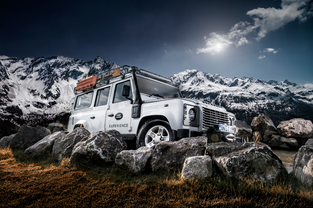 defender landcover on mountain, car photograph, jaguar land rover, car photograph, commercial photography, tim wallace