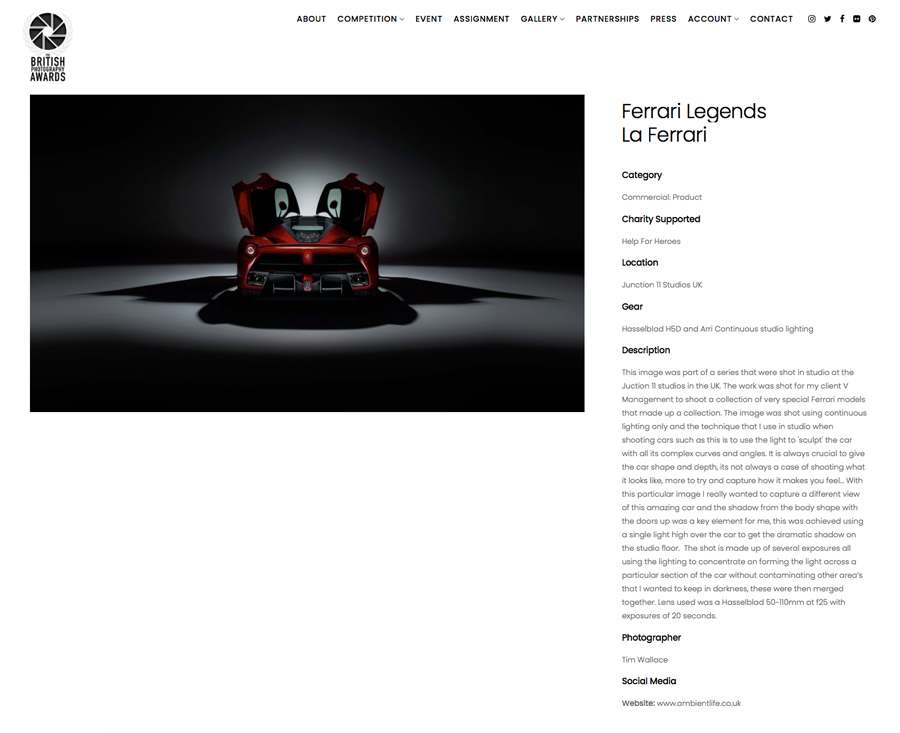ferrari, awards, car, studio, studio photography, car photography, advertising photography, commercial photography, ambientlife, tim wallace